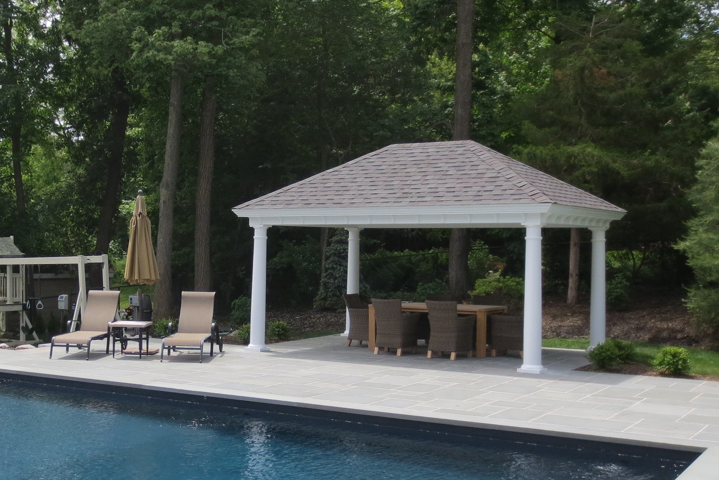 Outdoor pool pavilions custom vinyl timber frame pa for Pool pavilion plans