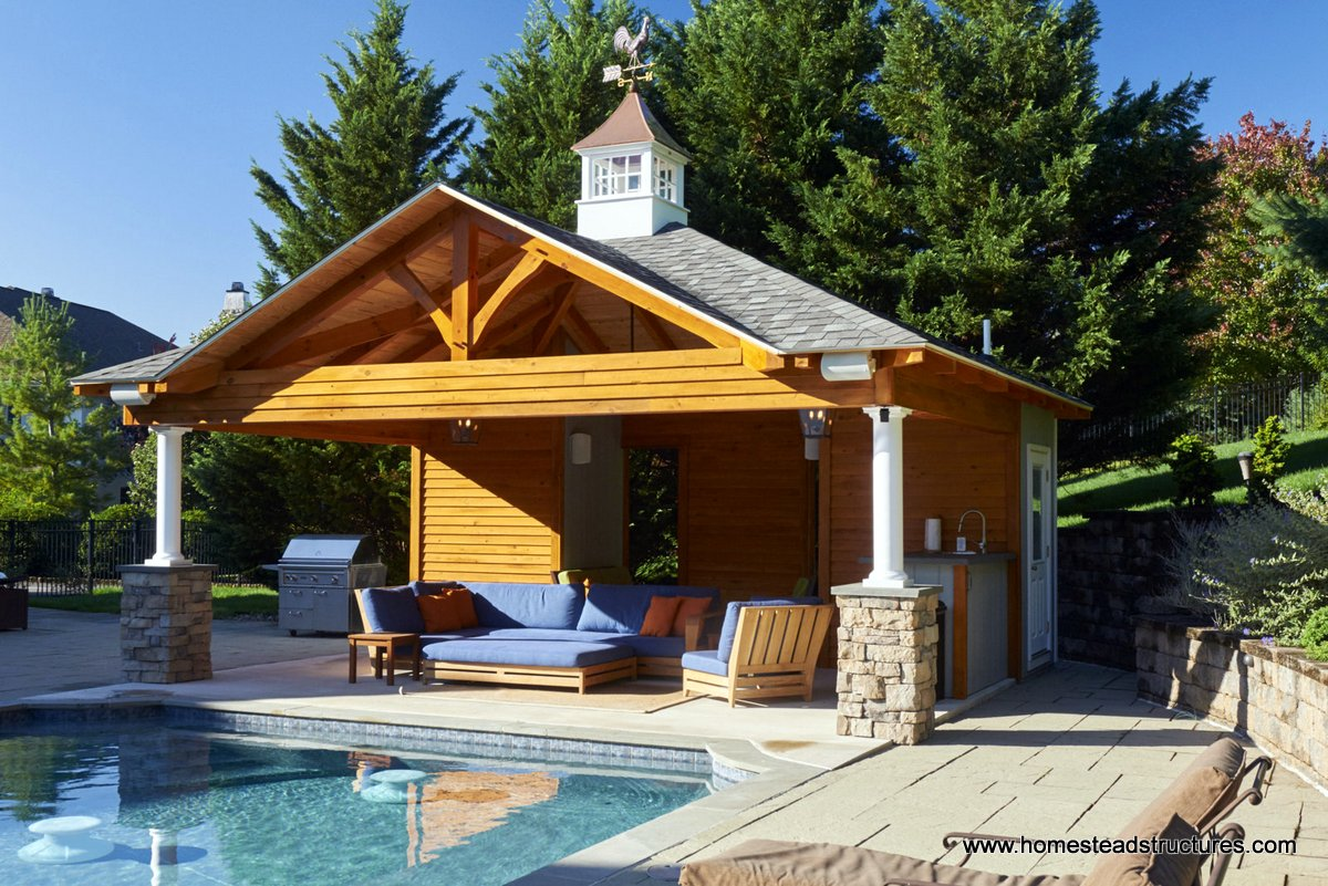 Custom pool house plans ideas pool cabanas in new for Pool and pool house