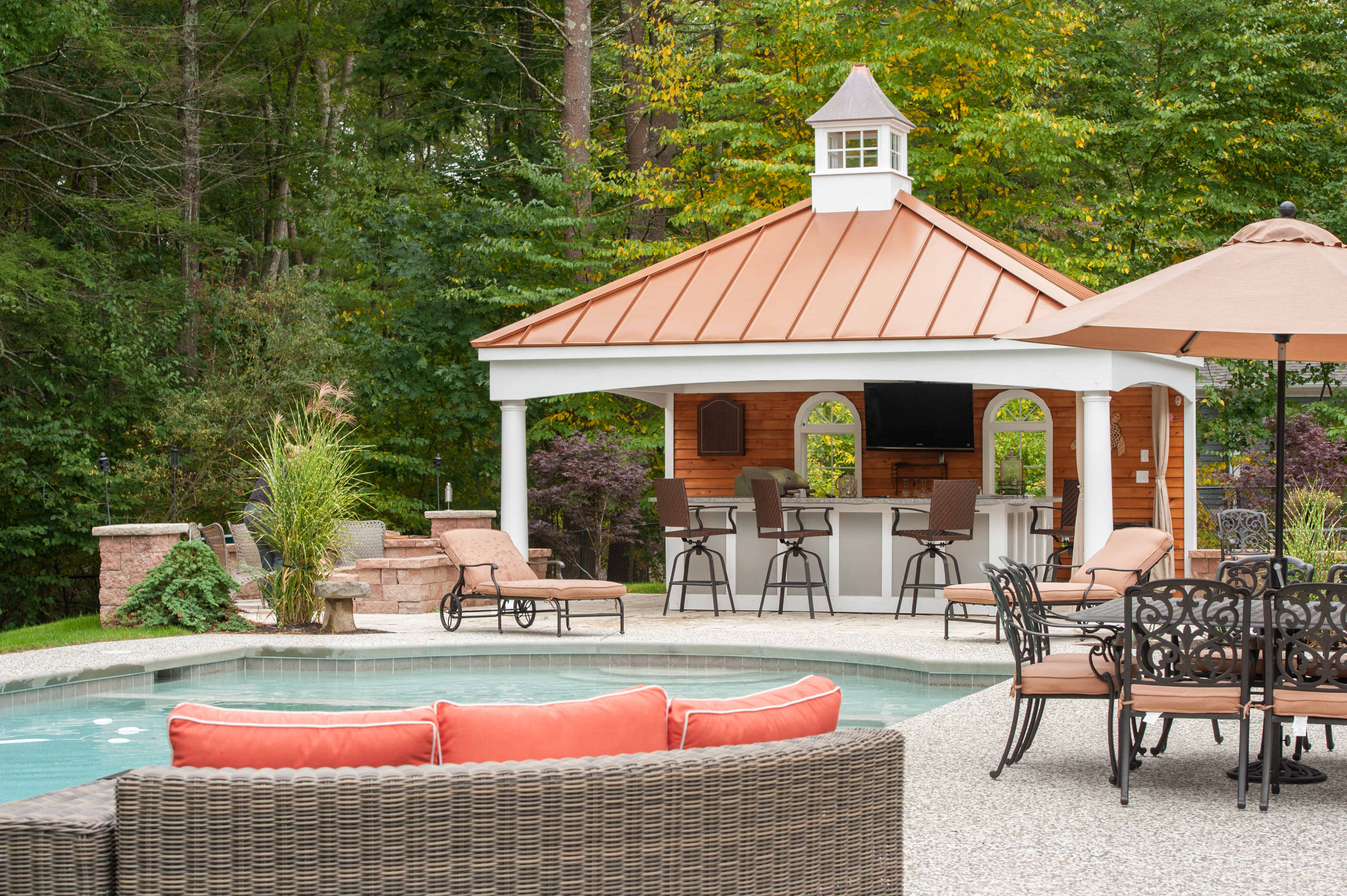 Custom Avalon Pool House With Metal Roof