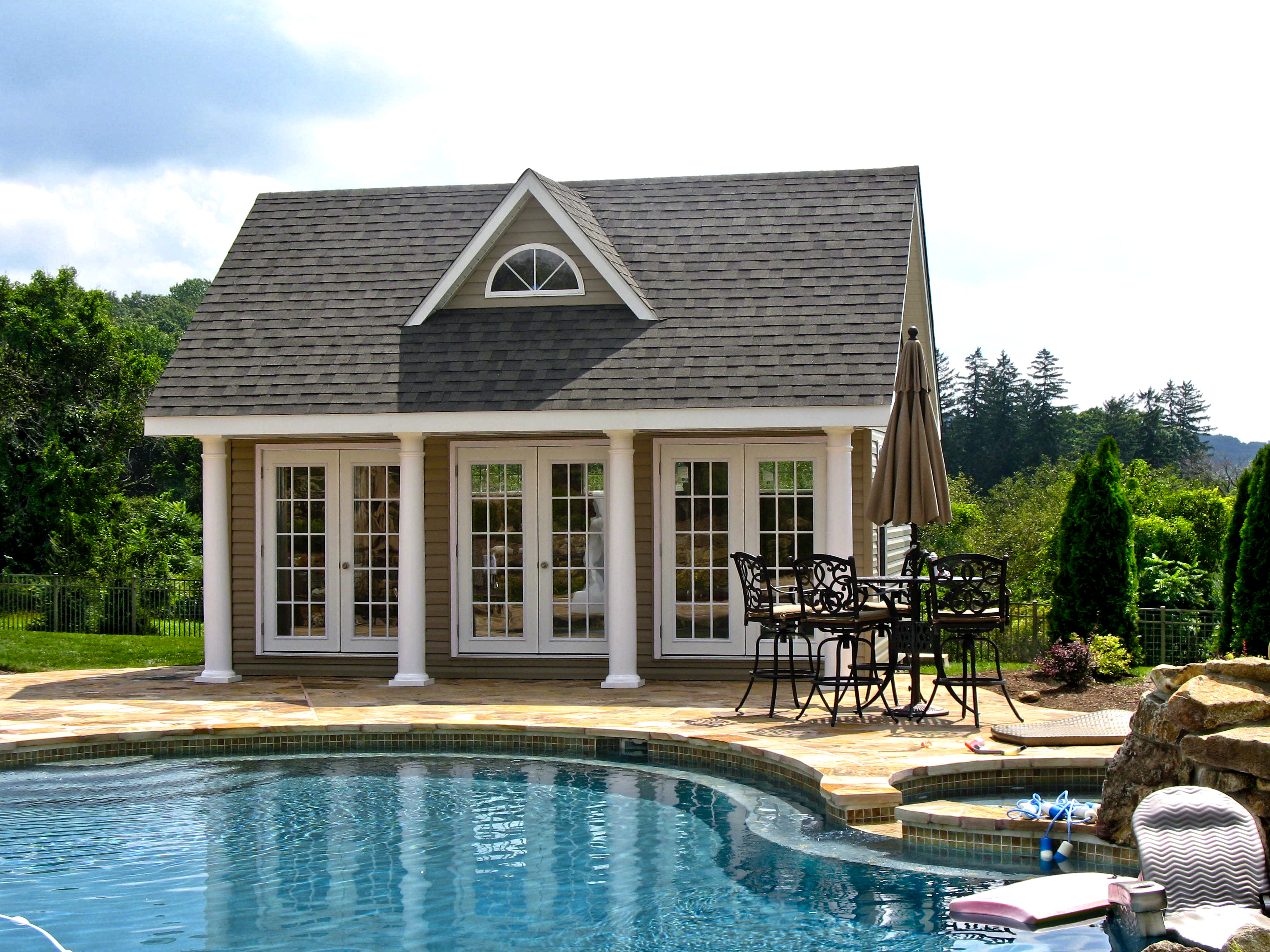 Heritage pool houses photos homestead structures for Pool house plans with garage