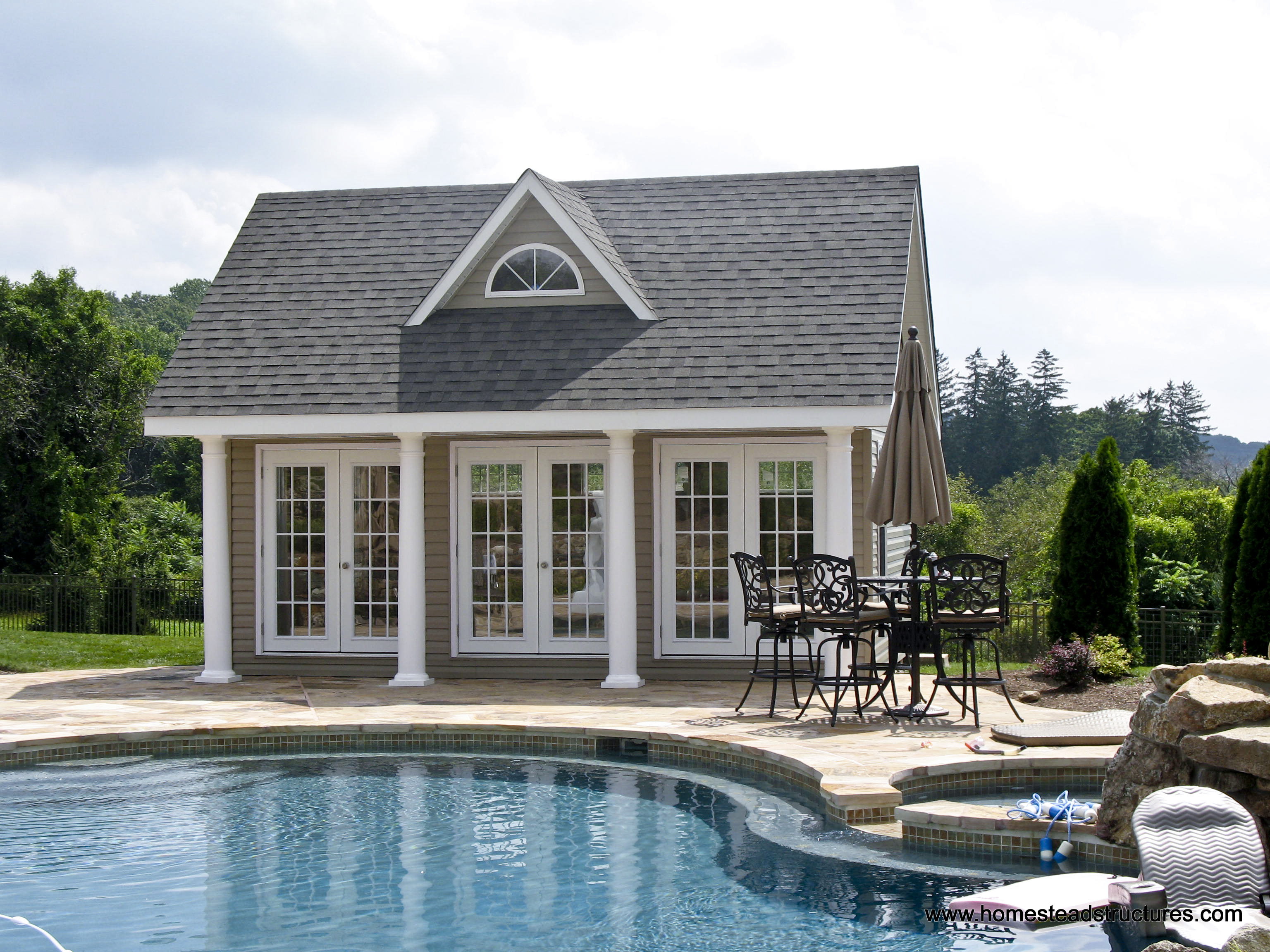 Heritage pool house homestead structures for Outdoor pool house designs