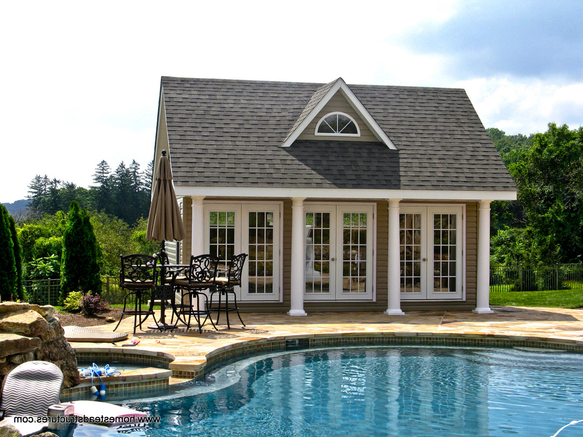 17 x 20 Heritage Liberty Pool House  vinyl siding. Pool Houses  Cabanas  Pool Sheds   Pool Side Bars   Homestead
