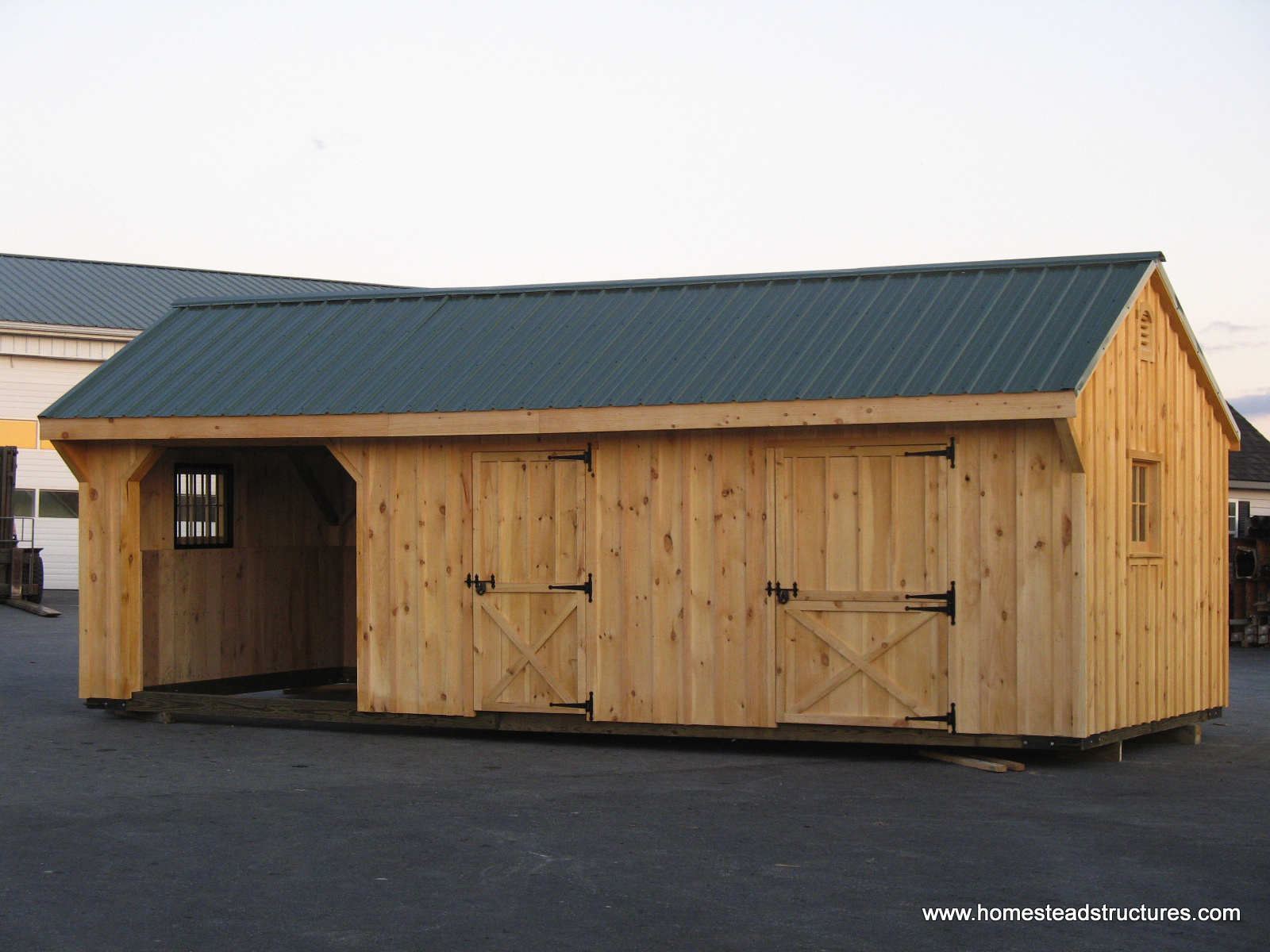 sheds horse w siding run room batten in structures tack amish board ft barns