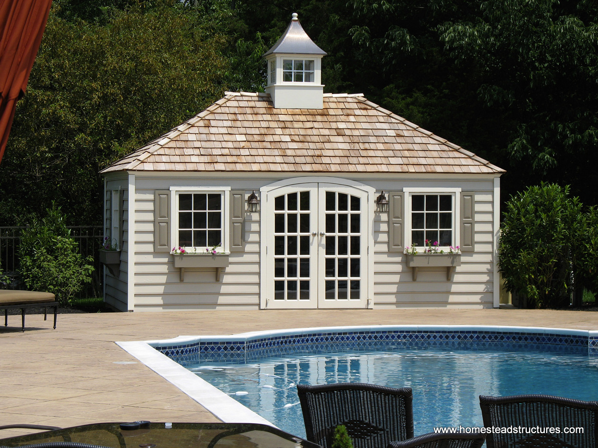 Pool shed ideas designs pool storage in pa homestead for Pool house shed plans