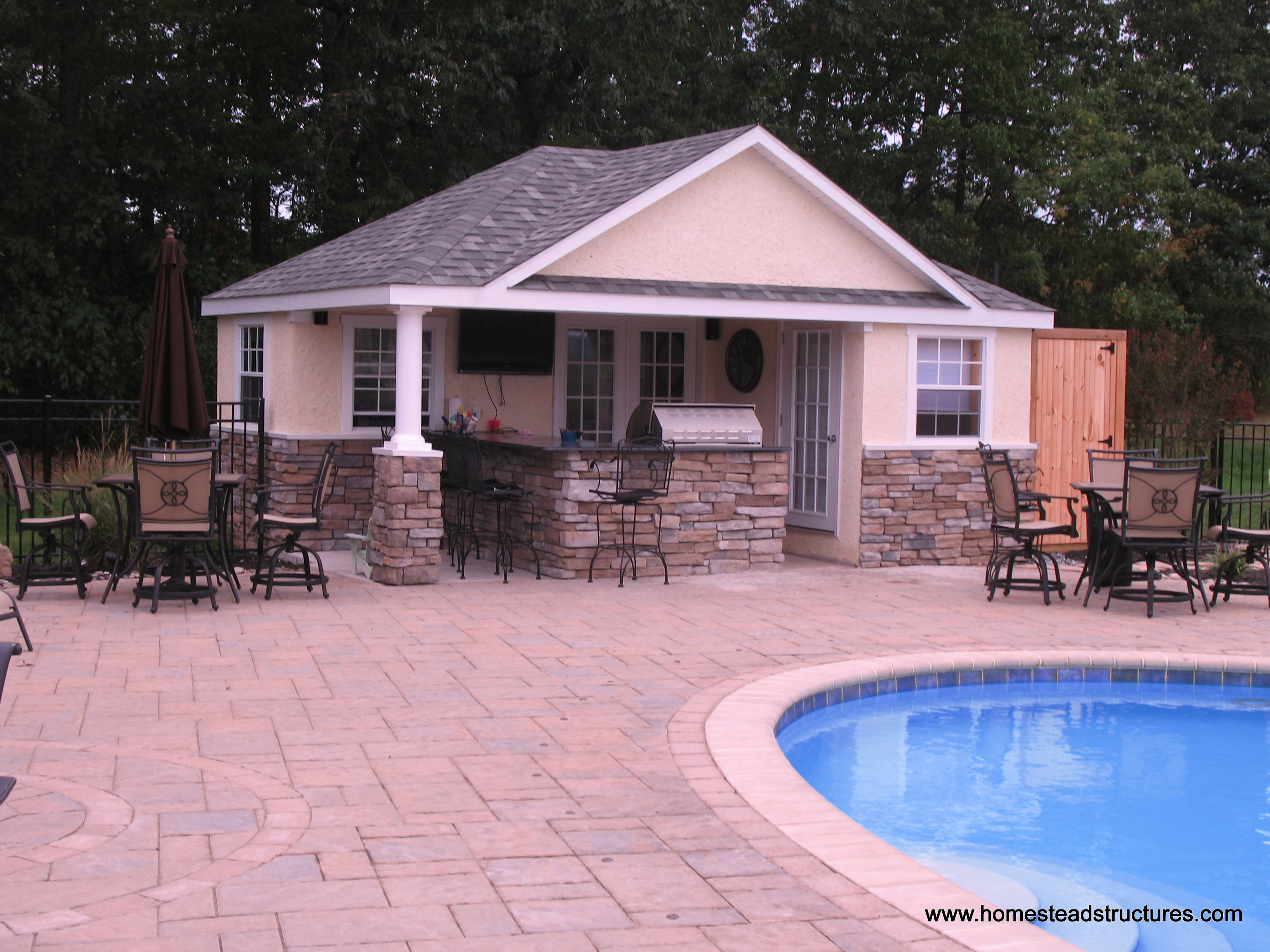 16  x 20  Wellington Poolhouse  Stucco   Stone. Pool Houses  Cabanas  Pool Sheds   Pool Side Bars   Homestead