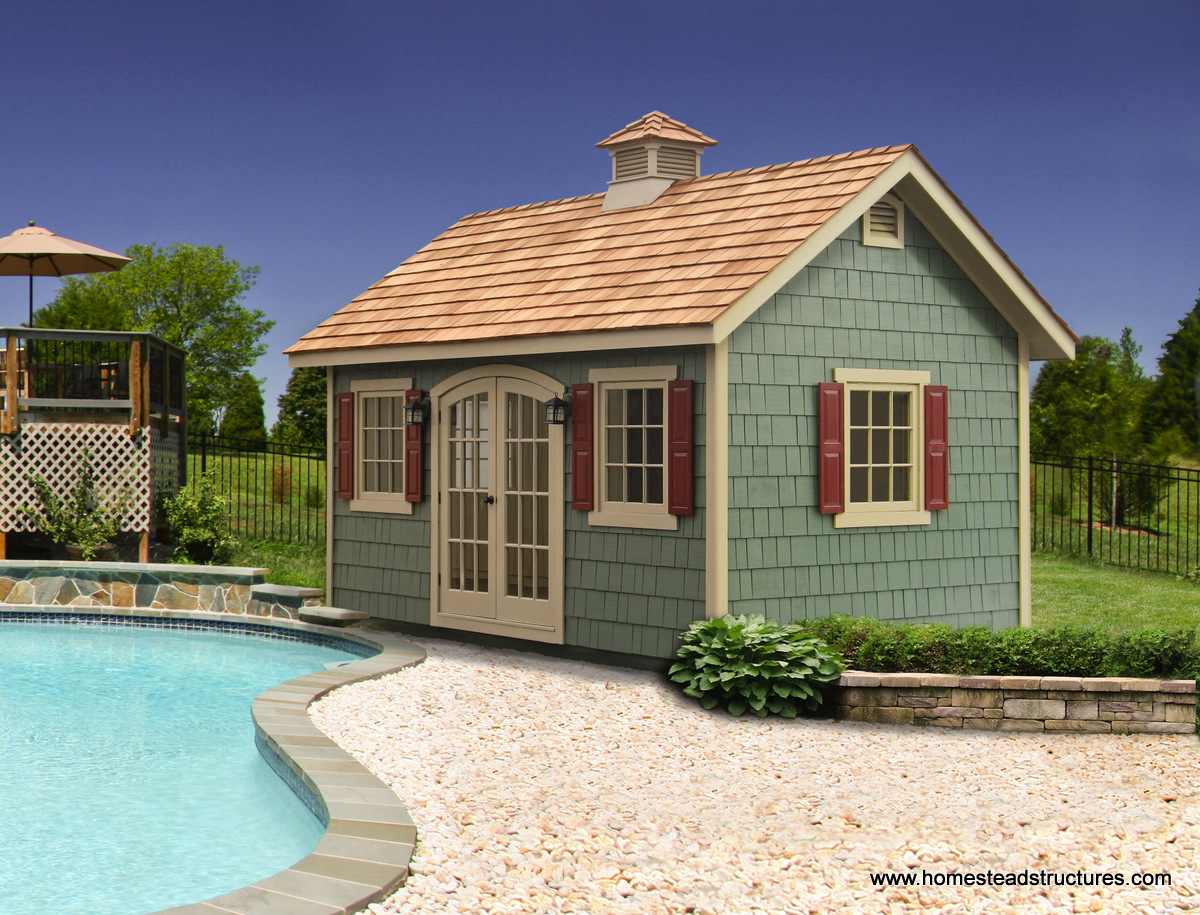 Pool shed ideas designs pool storage in pa homestead for Pool house design