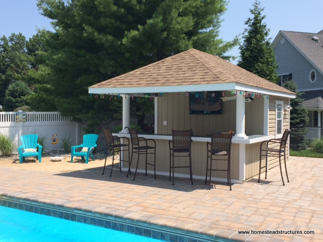 Siesta poolside bars pool cabanas pool bars for Pool shed with bar plans
