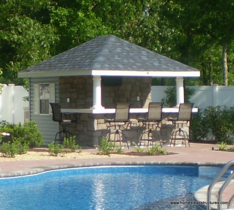 Hip roof sheds photos homestead structures Pool house plans with bar