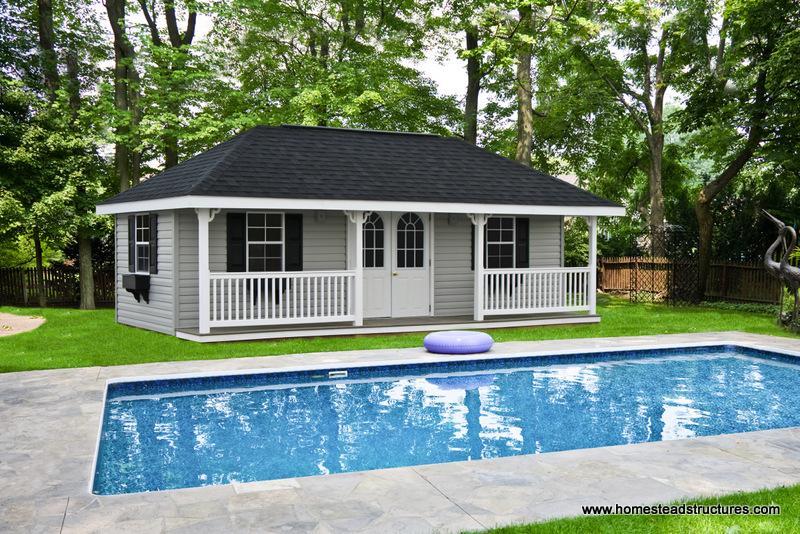 Custom pool houses photos homestead structures for Custom pool house