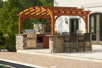 10x14 Custom Pavilion with luxury outdoor kitchen