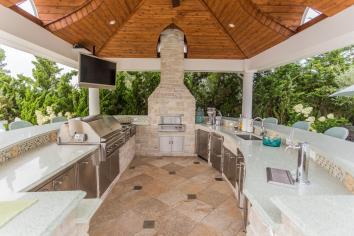 18x18 Custom Pavilion with luxury outdoor kitchen