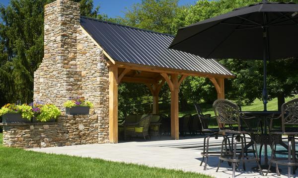 12' x 20' Timber Frame Poolside Pavilion
