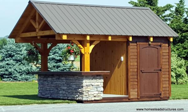 10' x 12' Timberframe Siesta Poolside Bar - 3' overhang & stone facade