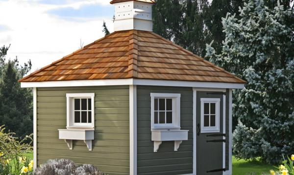 10' x 10' Classic Hip Garden Shed (German Pine Siding & Cedar Shake Roof)