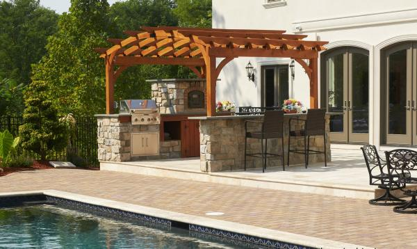 10x14 Arch Wood Pergola with Outdoor Kitchen & Pizza Oven