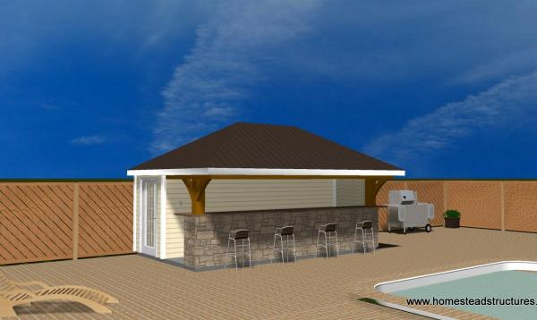 3d rendering of cusom 10x18 Siesta poolside bar