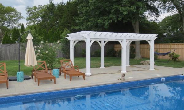 10 x 18 white vinyl pergola for poolside