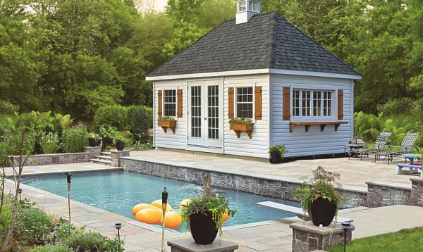 12' x 20' Liberty Hip Roof Pool Shed with Vinyl Siding