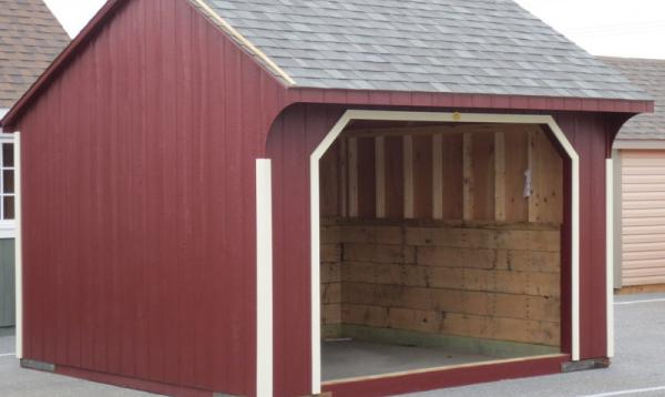 12' x 12' Quaker Horse Run In Barn (D-Temp Siding)