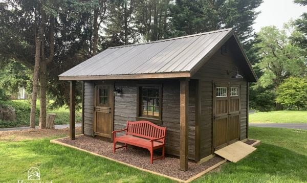 12' x 16' Classic A-Frame Shed with 2' porch