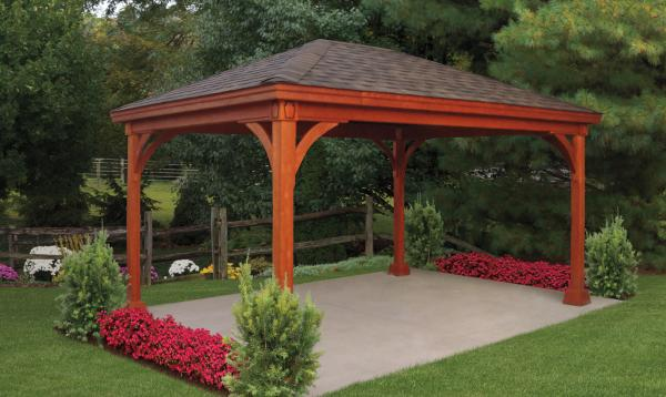 12' x 16' Keystone Wood Pavilion with Redwood Stain