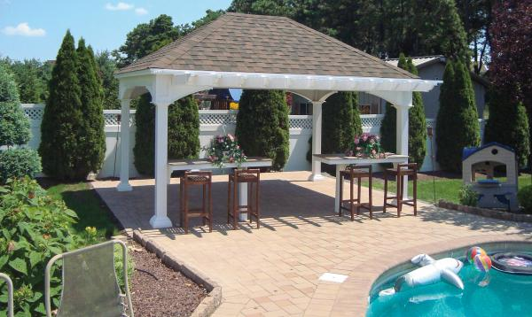 12' x 16' Manchester Pavilion with pergola overhang