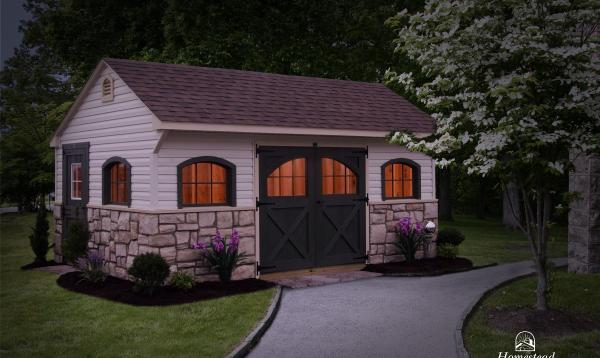 12' x 18' Carriage House with stone facade