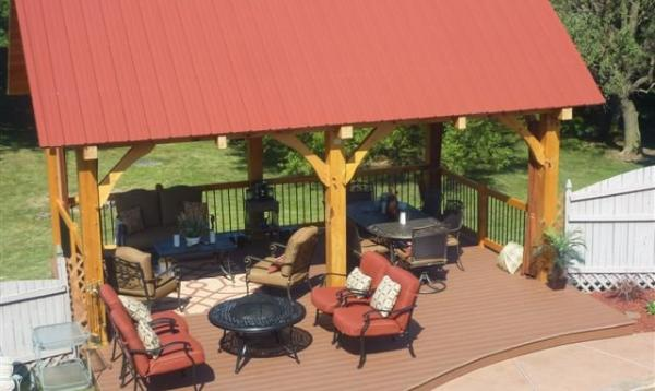 12' x 20' Timber frame pavilion with metal roof