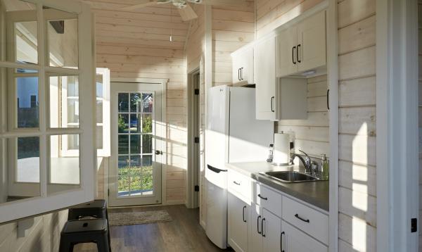 Finished interior of custom Avalon pool house