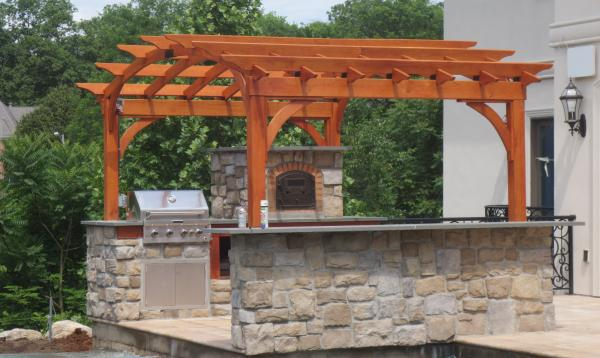 14 x 10 arched wood pergola for outdoor kitchen