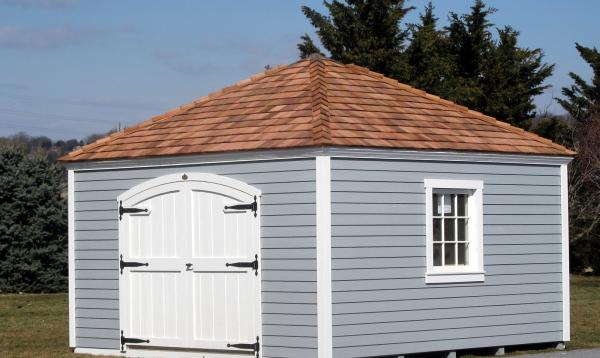 14' x 14' Laurel Hip Shed with cedar shake roof