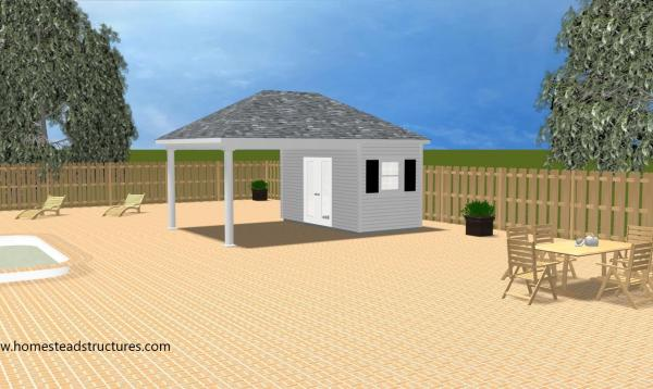 3D sketch of 14x20 Avalon Pool House