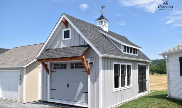 14' x 24' 1-Car, 2-Story Liberty Garage with timber frame accents