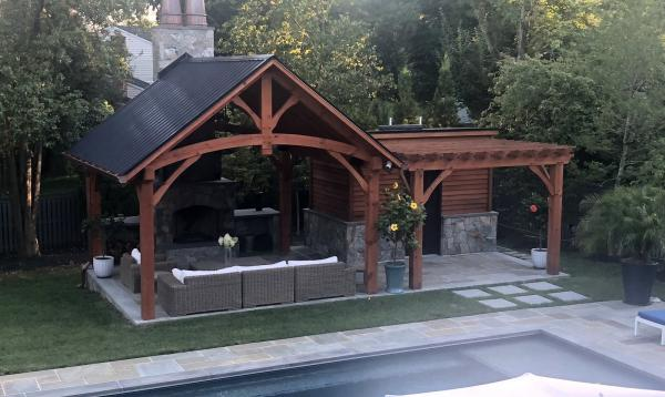 15' x 15' Timber Frame Pavilion with Stone Fireplace & attached wood Pergola