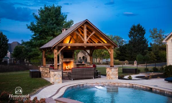 16' x 14' Timber Frame Pavilion with fireplace & mushroom stain