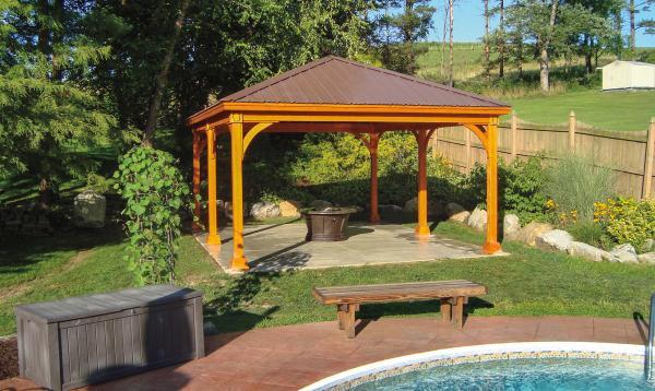 16' x 20' Keystone Pavilion with Cedar Stain