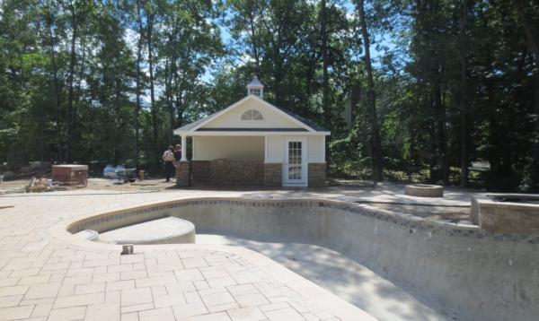 12' x 20' Wellington Pool Cabana with Stone Veneer