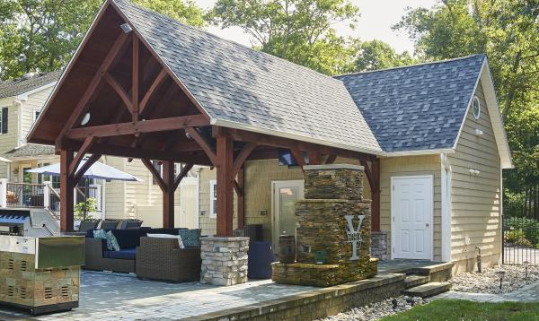 16x24 Custom Liberty Pool House with 14x20 Timber Frame Pavilion in NJ