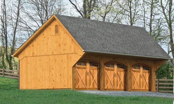16' x 32' 3 Car Custom Garage (Wood Siding)