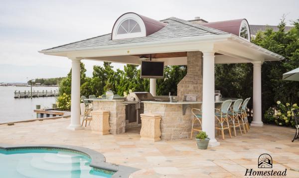 18' x 18' Custom Vintage Luxury Pavilion with full outdoor kitchen