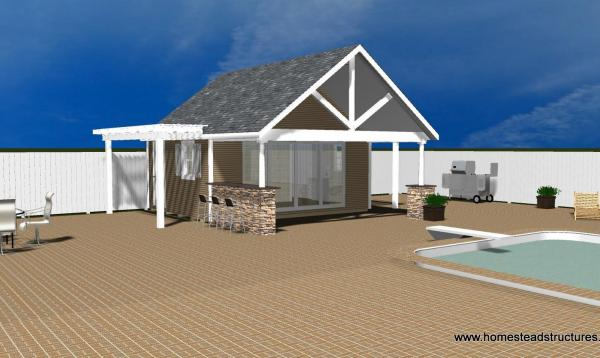 Rendering of 18x20 Custom a-frame pool house with pergola
