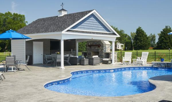 20' x 24' A-Frame Avalon Pool House with stone fireplace and bar area