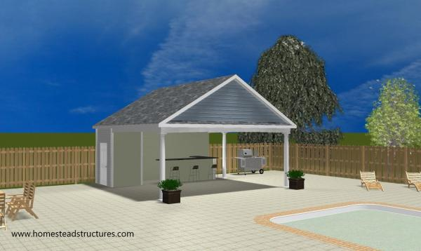 3D Rendering of custom A-Frame Avalon Pool House in Collegeville PA