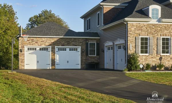 22' x 24' Attached 2-Car Garage with Stone veneer in MD