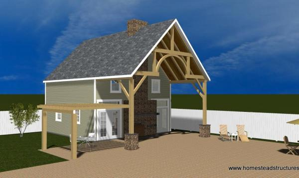 3D rendering of 2 story custom pool house with timber frame porch & pergola