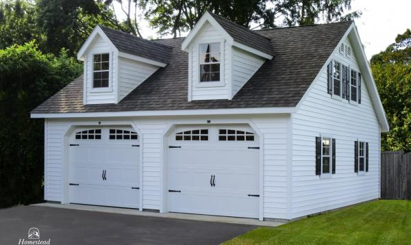 25' x 25' 2-Car, 2-Story Classic Garage with dormers
