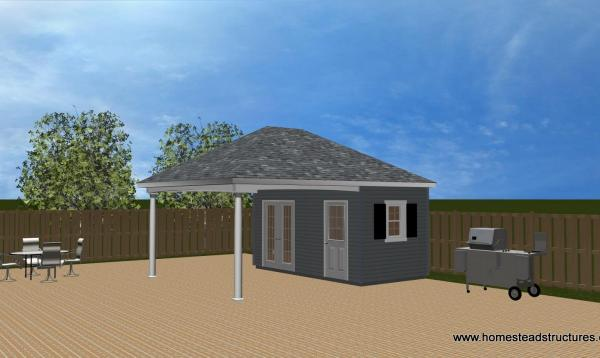 3D rendering of a 16x20 Avalon pool house/pavilion