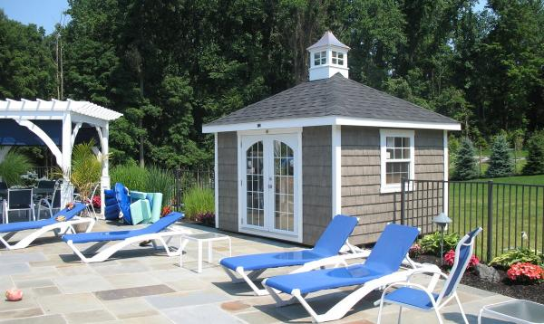 8' x 10' Pool Shed with Hip Roof & Vinyl Shake Siding