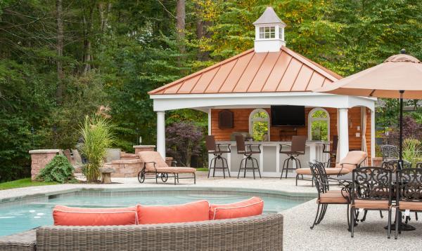 Custom Avalon Pool House with metal roof