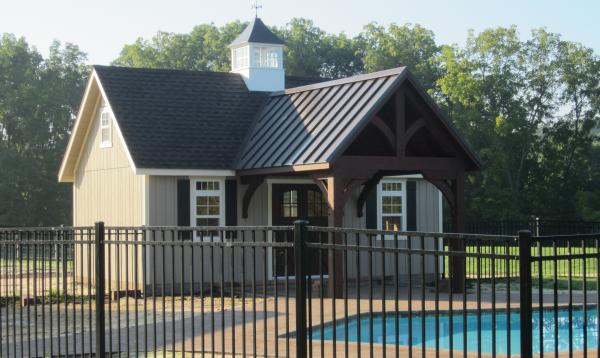 14 x 24 Custom Pool House with Pavilion